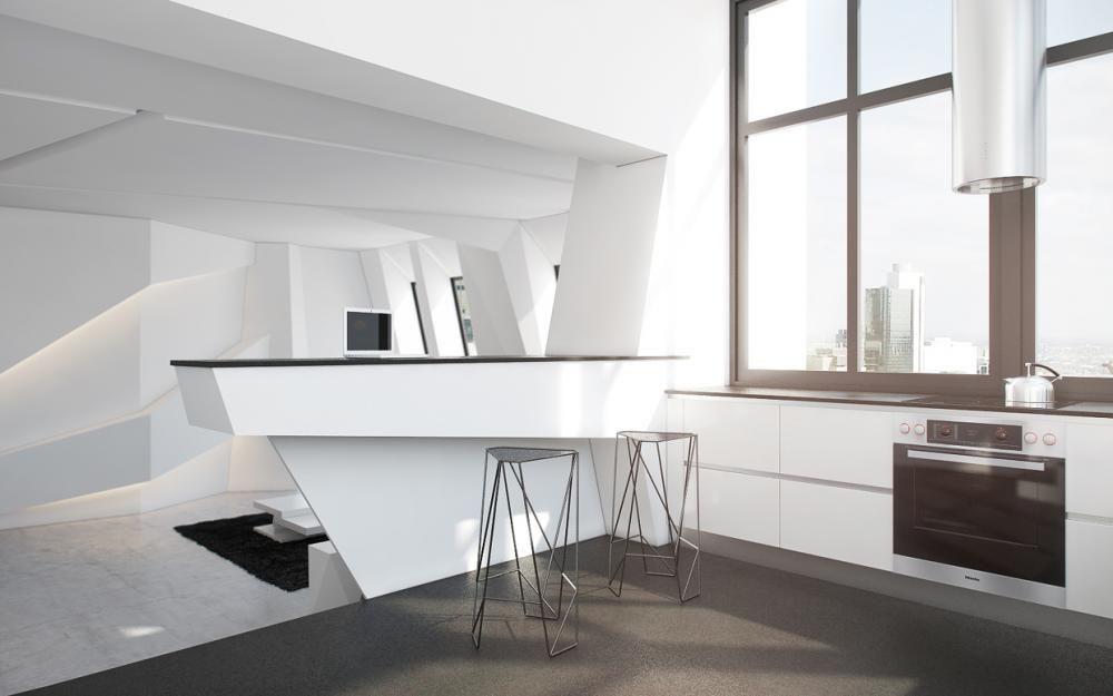 Wire Barstools In Futuristic Minibar Design Lovely interior design ...