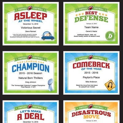 9207628bc61 Fantasy Football Certificates - Talk some smack and recognize winners and  losers with these fun awards!