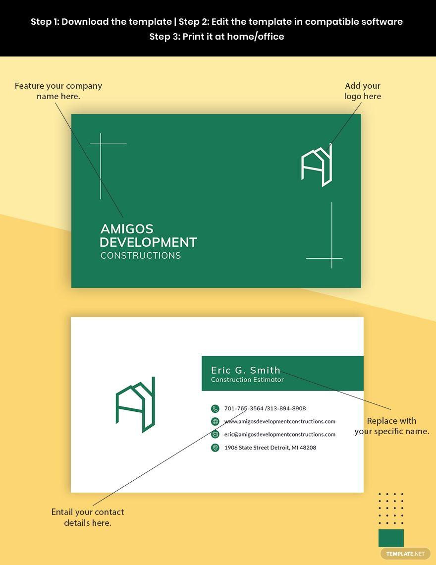 Construction Estimator Business Card Template In 2020 Company Business Cards Business Card Template Construction Estimator