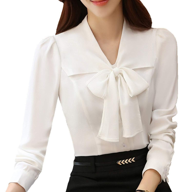 Women Ladies Long Sleeve Chiffon Shirt Button Down Blouse Work Office Summer Top