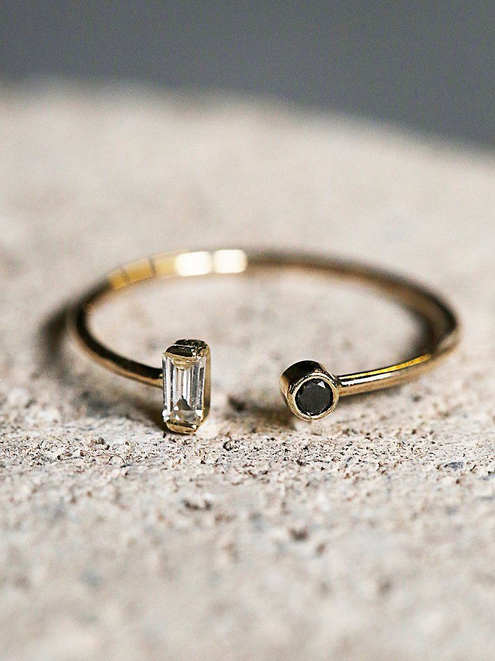 Zoe Chicco Baguette Diamond Open Ring at Free People Clothing Boutique