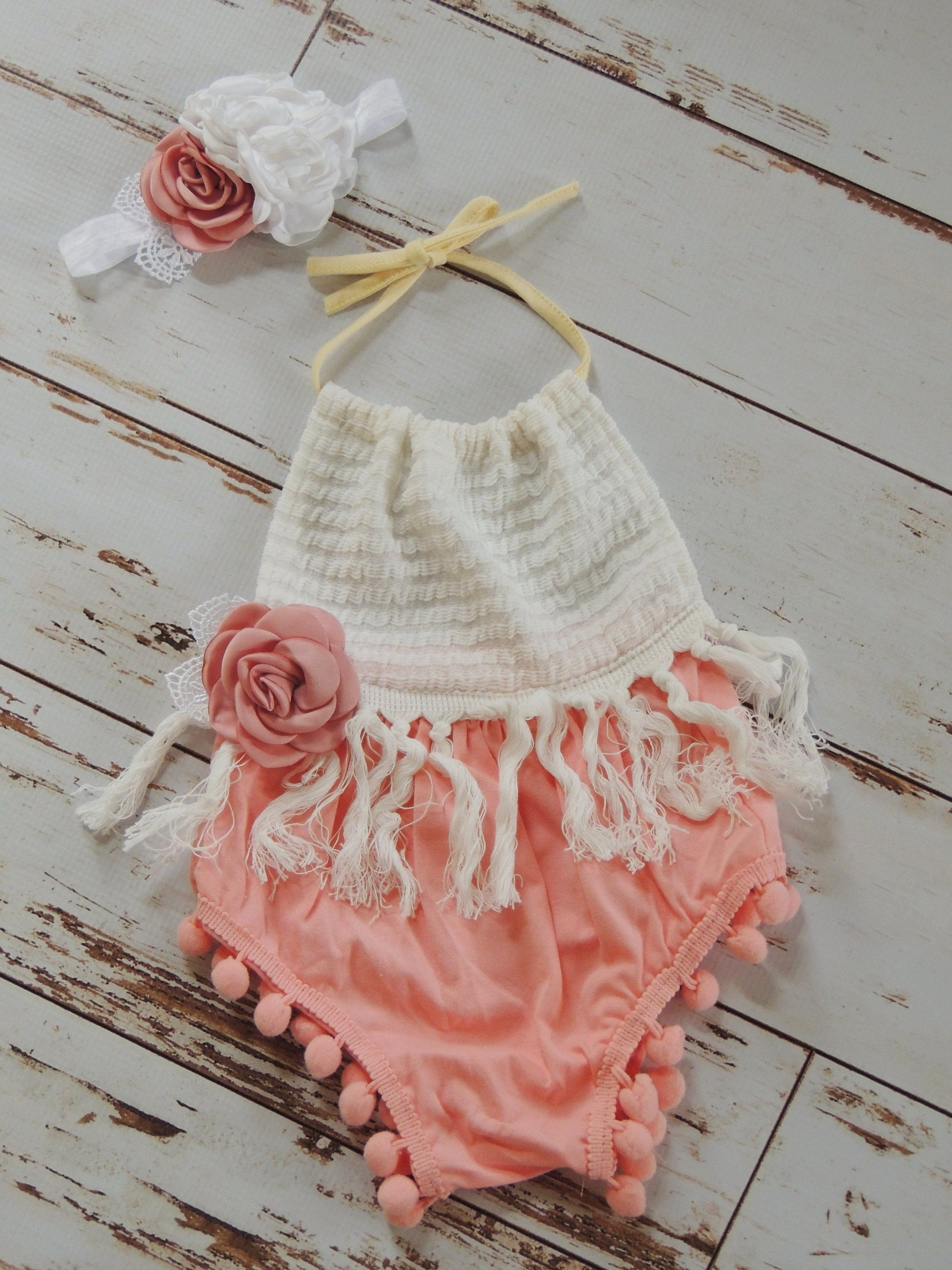 4c63edc403e7 Baby Girl Boho Romper Birthday Outfit Boho Baby Girl Wild One Birthday  Cakesmash Outfit Baby Girl Romper First Birthday GIrl Romper by JadeandJo  on Etsy