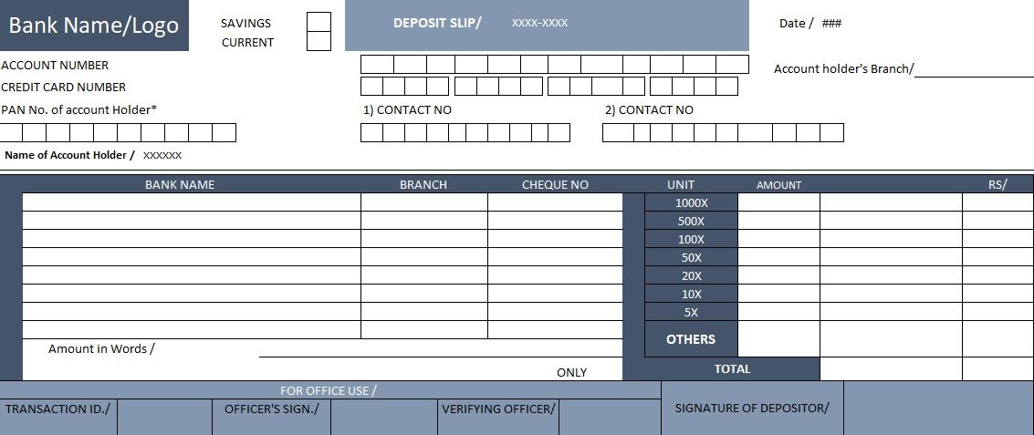 Bank Deposit  Excel File  Templates    Template Bank