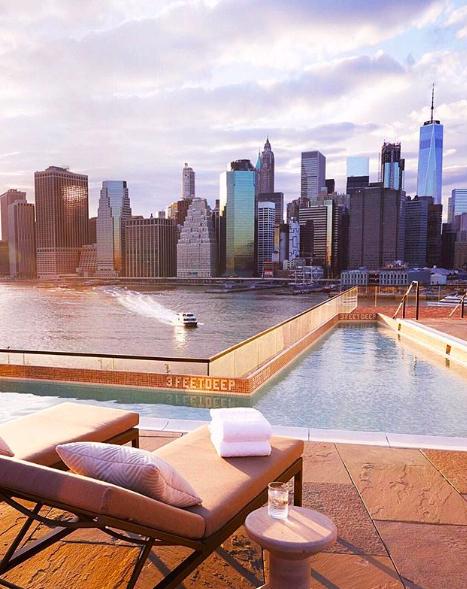 1hotel Bk Bridge 1hotel Brooklyn Brooklynbridge Rooftoppool Workspot Nyc Newyork Rooftop Manhattanskyline Views Nycviews Al New York Rooftop Rooftop Pool Plunge Pool