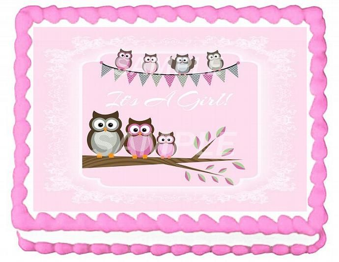 Its A Girl Owls Baby Shower Cake Topper Baby Shower Kaileah