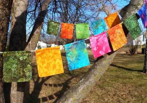 Tibetan Style Batik Prayer Flags With Fabric Marker Etsy In 2020 Fabric Markers Prayer Flags Nature Crafts Kids
