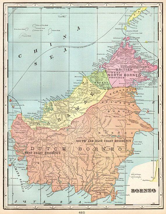 1901 Antique Borneo Map Indonesia Map Original Vintage Borneo Etsy Borneo Vintage Map Map