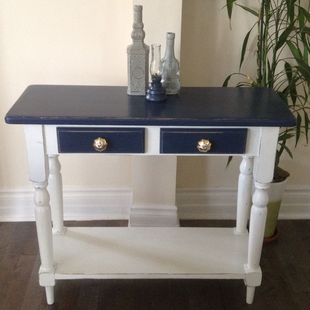 Custom order country style console table with glass knobs chalk custom order country style console table with glass knobs chalk painted ivory and midnight blue geotapseo Gallery