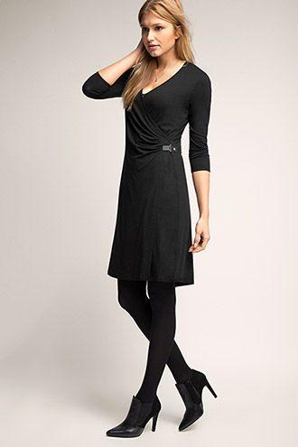 Esprit / Stretch Jersey-Wickelkleid mit Schnalle