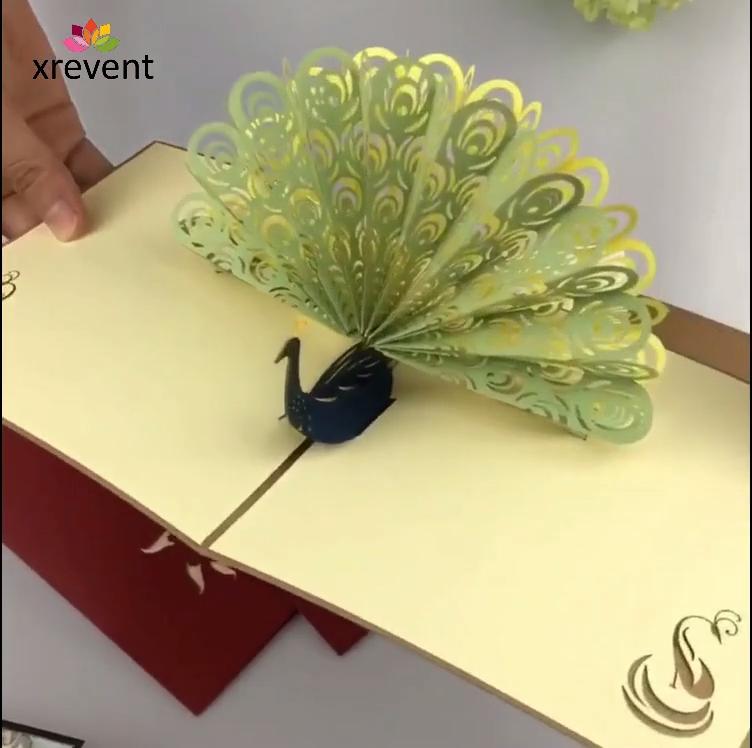 3D Pop up Pfau Grußkarte