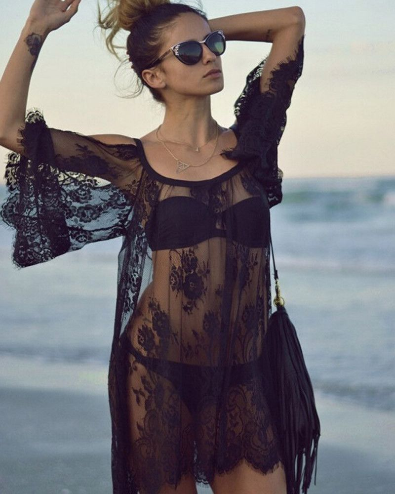 0682843cac5 Ladies Sexy Lace Swimsuit Cover Up Dresses Robe Tunique De Plage See  Through Shirts Bathing Suit Beach Dress Tunic Cover Ups