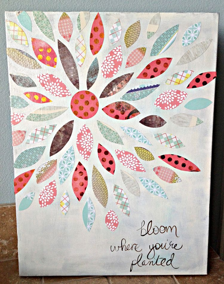 Summer Crafting Day 12 Paper Flower Canvas Art Home Decor