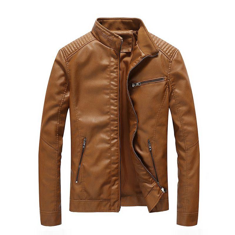Women/'s Slim Motorcycle PU Soft Leather Vintage Zip Flight Jacket Coat Outwear