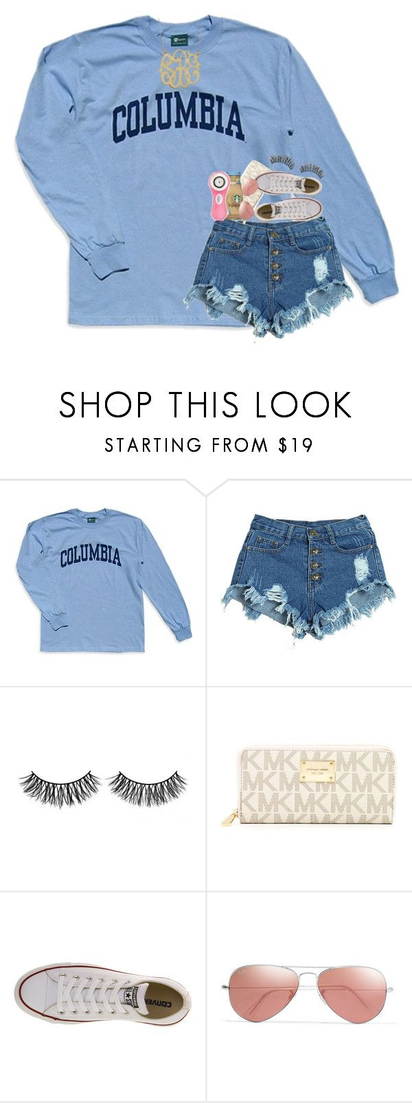 """""""update❣"""" by ellaswiftie13 ❤ liked on Polyvore featuring Columbia, WithChic, Rimini, MICHAEL Michael Kors, Converse, Ray-Ban and Clarisonic"""