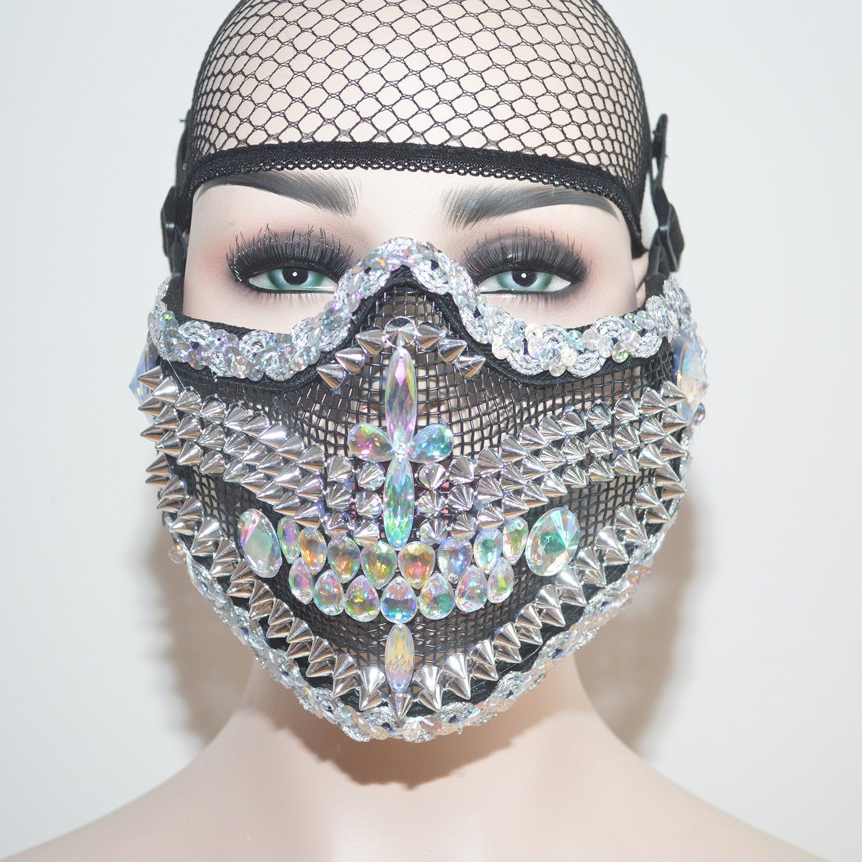 2020 的 Holographic Sparkly Half Face Mask,Studded Mask