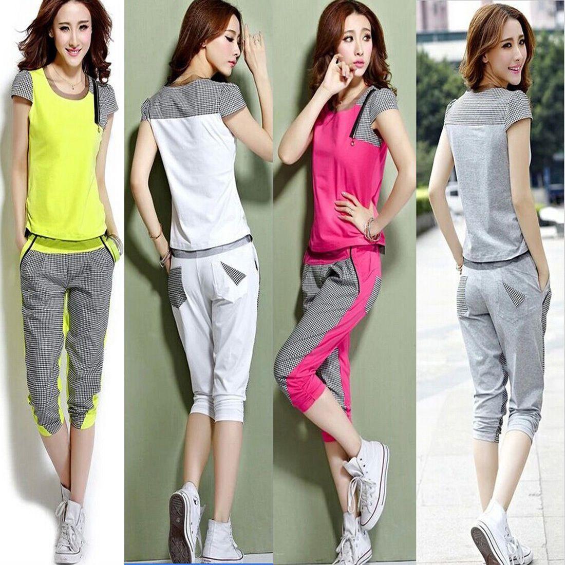 Pcs women short sleeve tops tshirt pants tracksuit sport sweat
