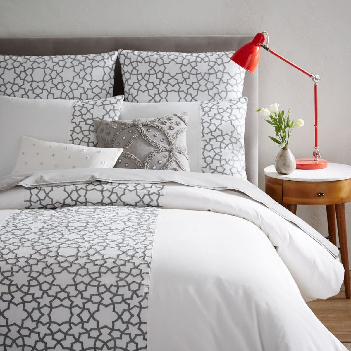 Embroidered Star Quilt Cover + Pillowcases | West Elm