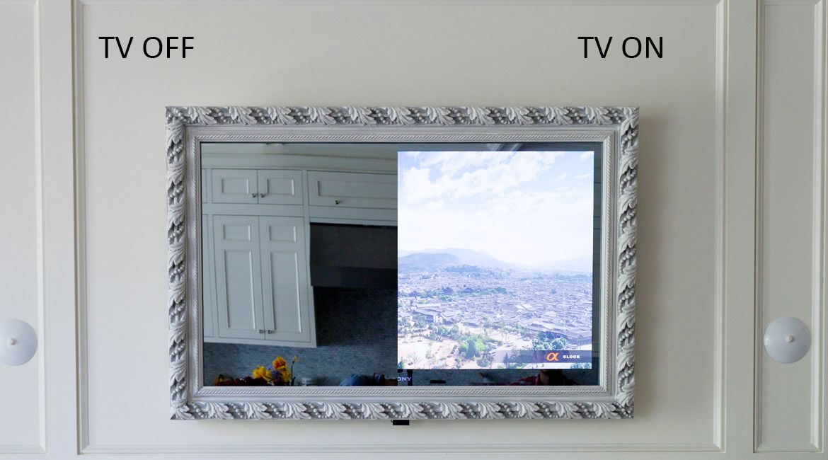 The Framed Vanishing Mirror Tv Is Perfect Solution For Hiding A Television In Your Living Room We Use German Quality Two Way Mirrors To Achieve This