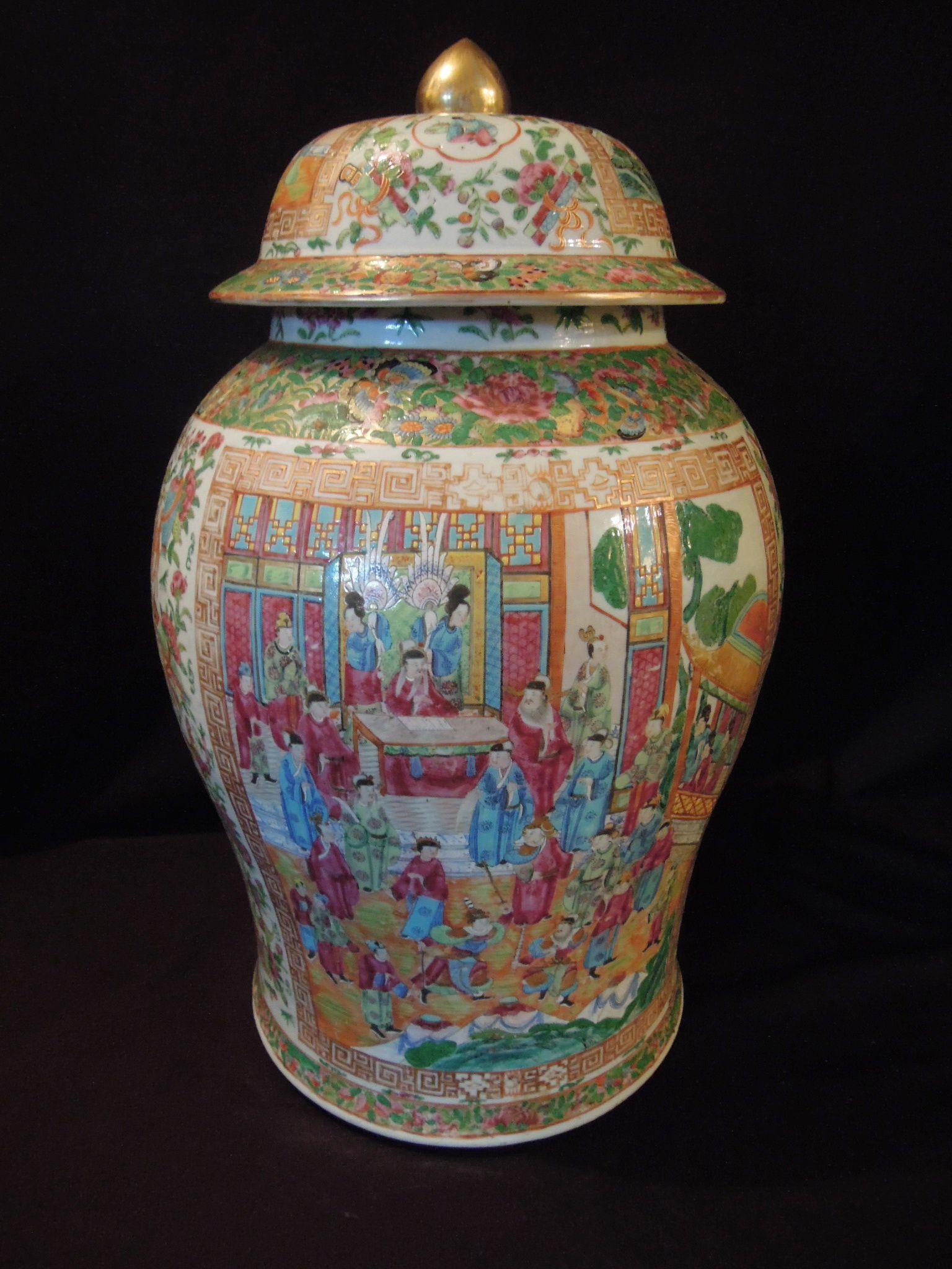 LA-1753    24.5''H 15''diameter. Chinese porcelain Mandarin temple jar. Circa 1790-1800.
