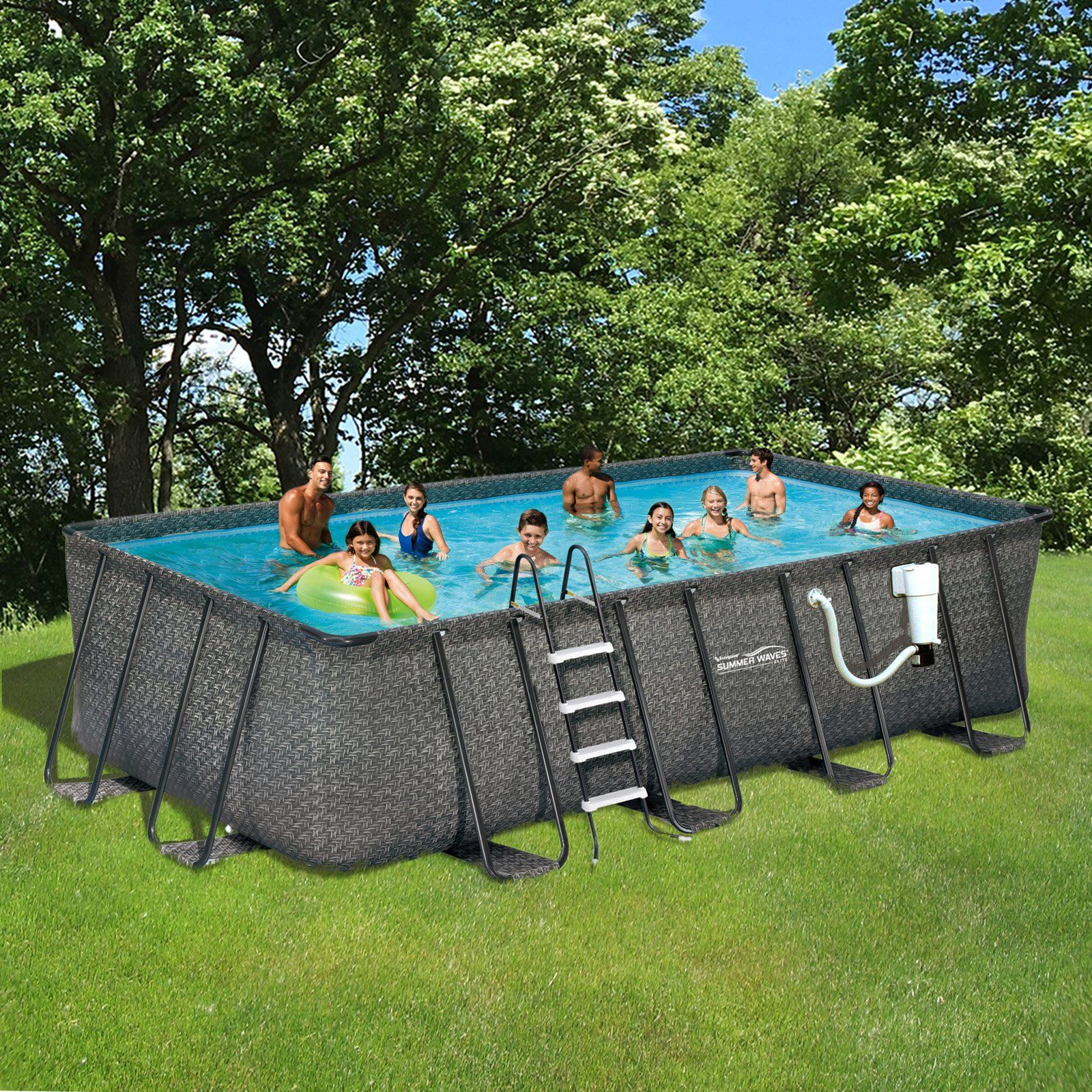 Summer Waves Elite Rectangular Metal Frame Pool Package Nb2133