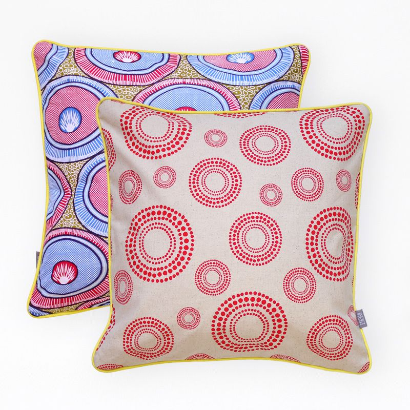 African Wax prints are an Iconic fabric from Africa, and bring in just the right amount of colour and graphic pattern to your sofa- Ethnic Cushions by Indigi Designs Credit: The District Six Store