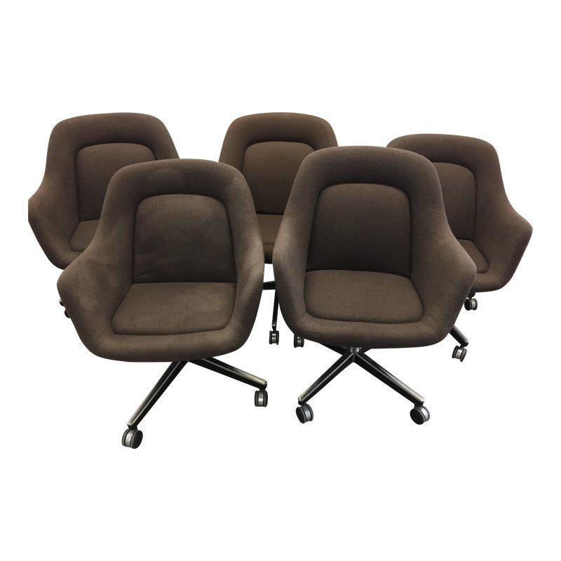 Awe Inspiring 1980S Knoll Brown Upholstered Swivel Office Chairs Set Of Uwap Interior Chair Design Uwaporg