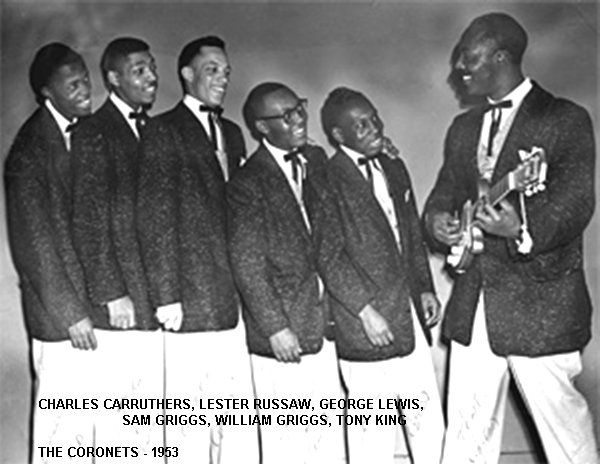 Coronets - Chess Records | This vocal group from Cleveland, Ohio, USA, comprised Charles Carruthers (lead), Lester Russaw (first tenor), Sam Griggs (second tenor), George Lewis (second tenor), William Griggs (bass) and Tony King (guitarist). The Coronets, like the Moonglows, tried to grab the brass ring of success, but unlike their more famous Cleveland counterparts never went beyond one-hit-wonderdom.