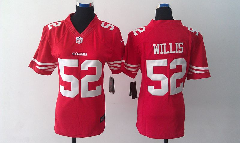 womens nike nfl san francisco 49ers 52 patrick willis red team color elite jersey