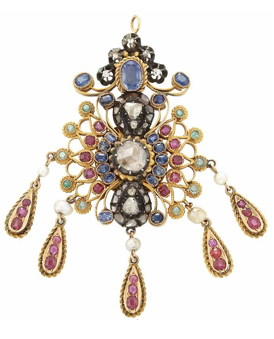 Gold, Silver, Gem-Set and Diamond Pendant. Rose-cut diamonds, sapphires, rubies, emeralds & pearls, ap. 20.7 dwts. (Via Doyle New York.)