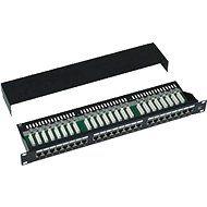 Datacom, 24x RJ45, priamy, CAT5E, STP, čierny, 1U