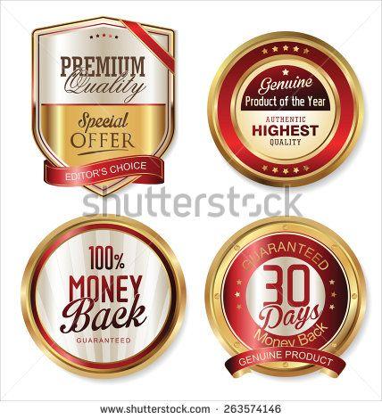 Premium quality golden labels - stock vector