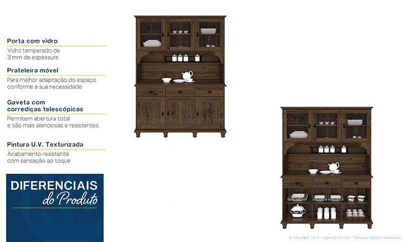 Conjunto para Sala/Hall com Cristaleira com Vidro, Balcão e Moldura Sem Espelho Wood Imbuia Touch - Imcal | Lojas KD