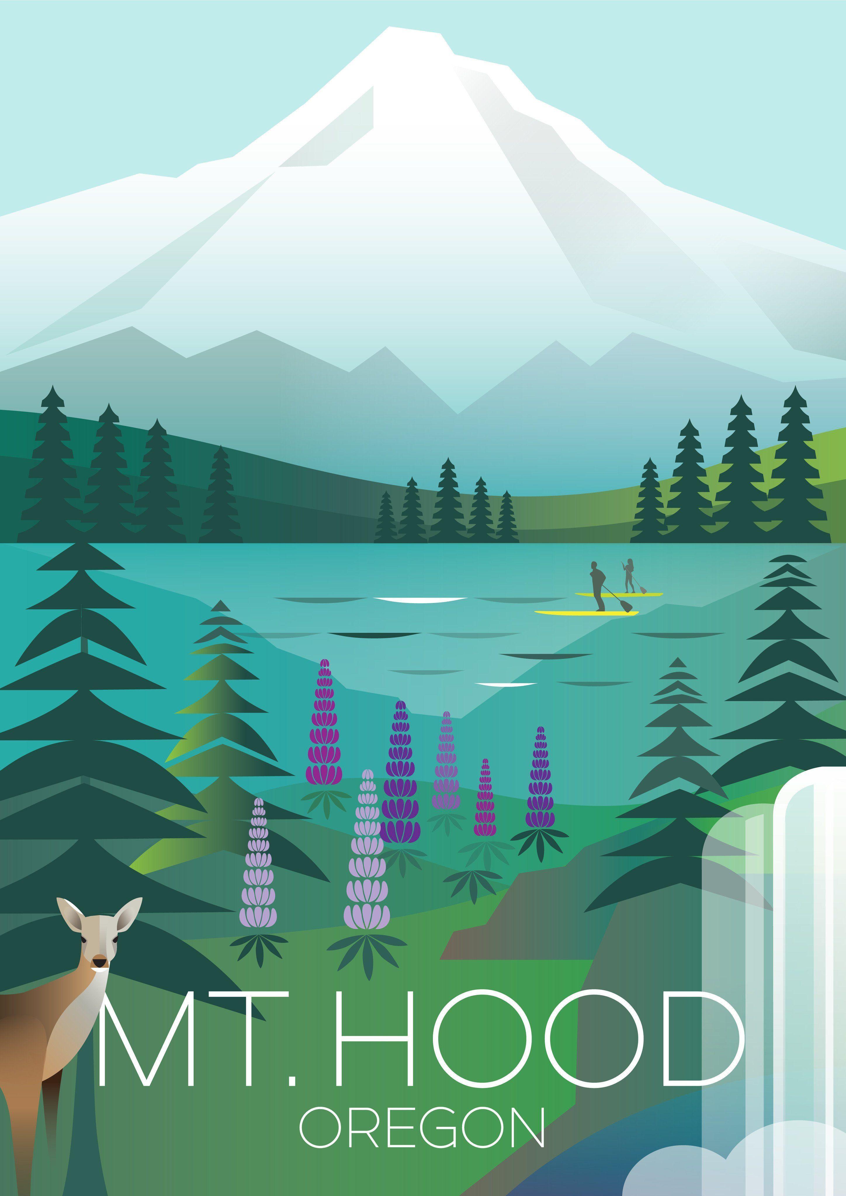 Mount Hood Print Travel Posters Vintage Travel Posters Vintage Posters