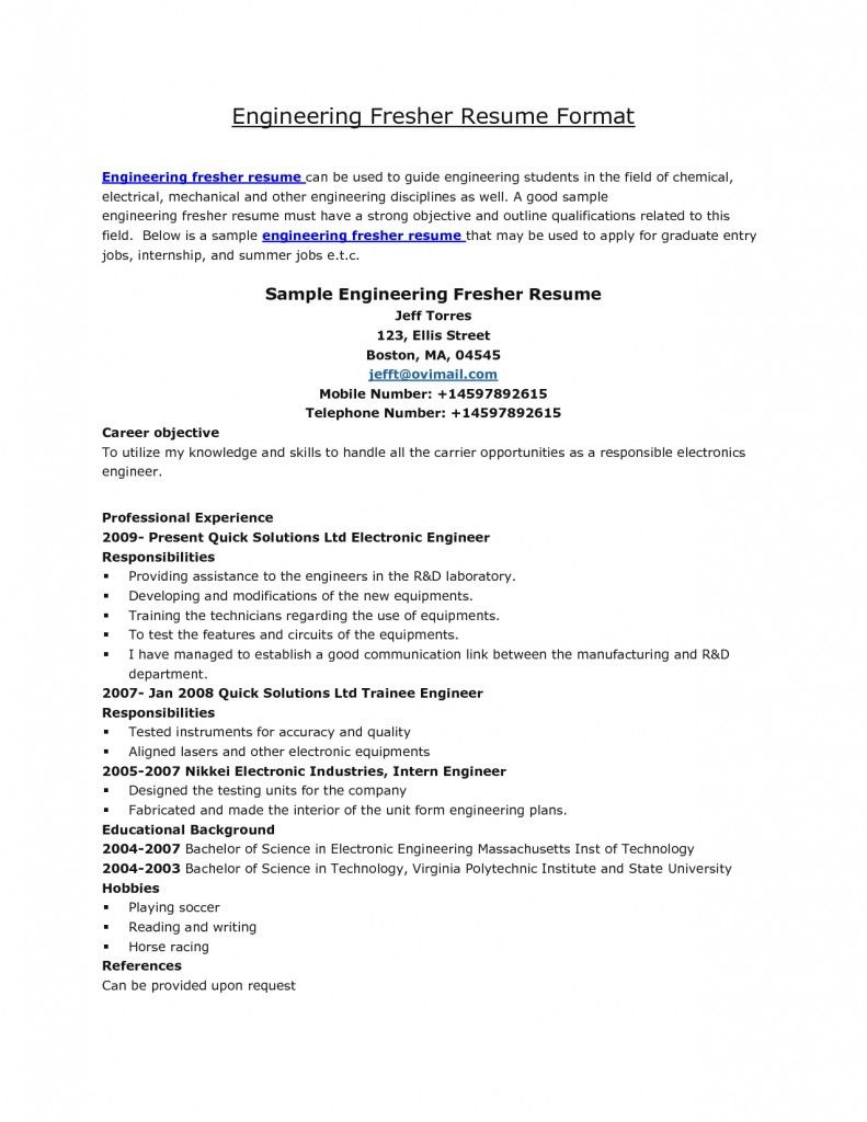 resume Electrical Engineer Fresher Resume resume formats for fresher engineer httpwww resumecareer info info
