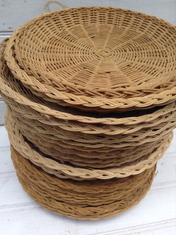 Vintage Wicker Paper Plate Holders Picnic Summer by : wicker paper plate holder - pezcame.com