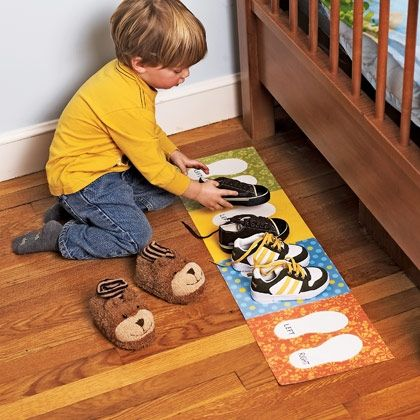 Simple Shoe Organizer - help your kids learn to put their own shoes away NICELY