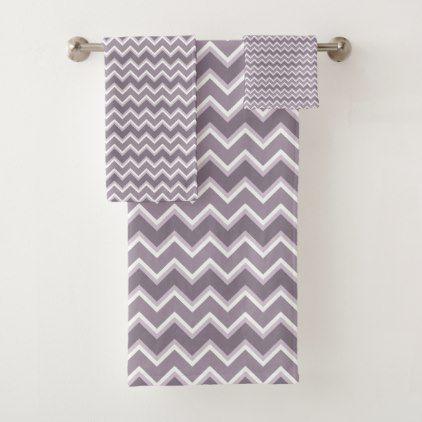 Shades of Purple Chevron Stripe Bathroom Towel Set - pattern sample ...