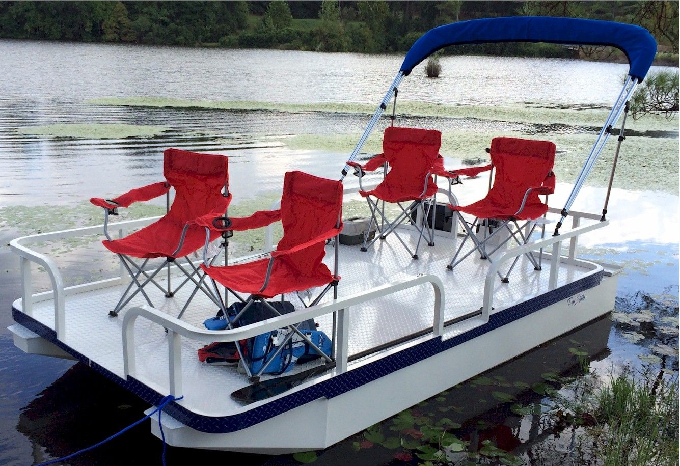 Pro strike 126 exr mini pontoon boat cottage garden for Mini pontoon fishing boats