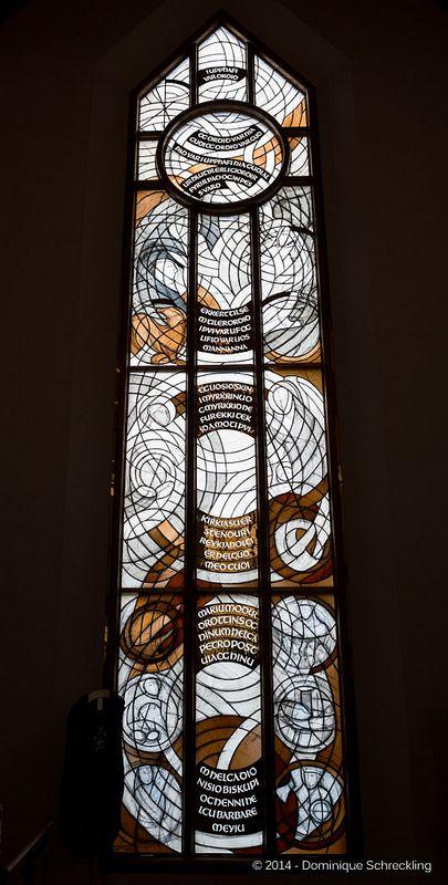 New Church Reykholt, Iceland; The window is an art of ©Valgerður Backmann, Iceland - Letters made by ©Soffía Árnadóttir, Galligrapher, Iceland