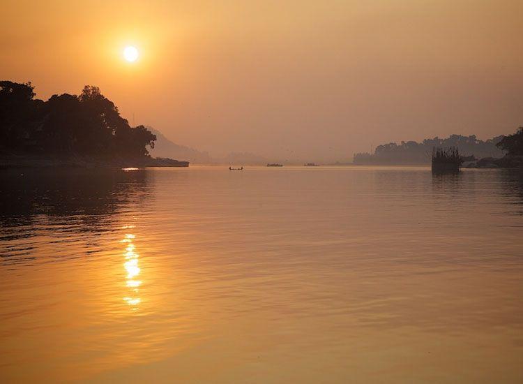 Image result for sunset on river brahmaputra