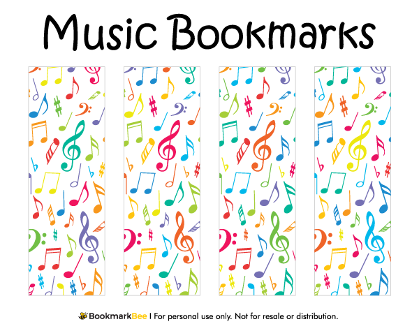 Free printable music bookmarks download the pdf template at http bookmarkbeecom bookmark for Printable bookmarks pdf