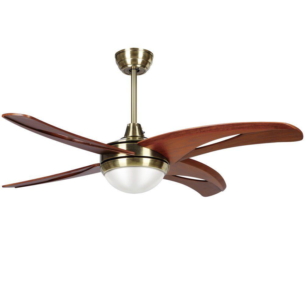 Rainierlight Ceiling Fan Lamp Led Light For Bedroom Living Room Dinning Room With 4 Blades Remote Control 48 Inch Mute In 2020 Ceiling Fan Modern Ceiling Fan Fan Lamp
