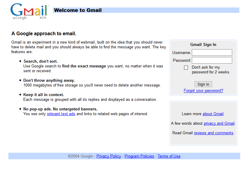 Gmail Website In 2004 Web Design Gmail Sign Gmail