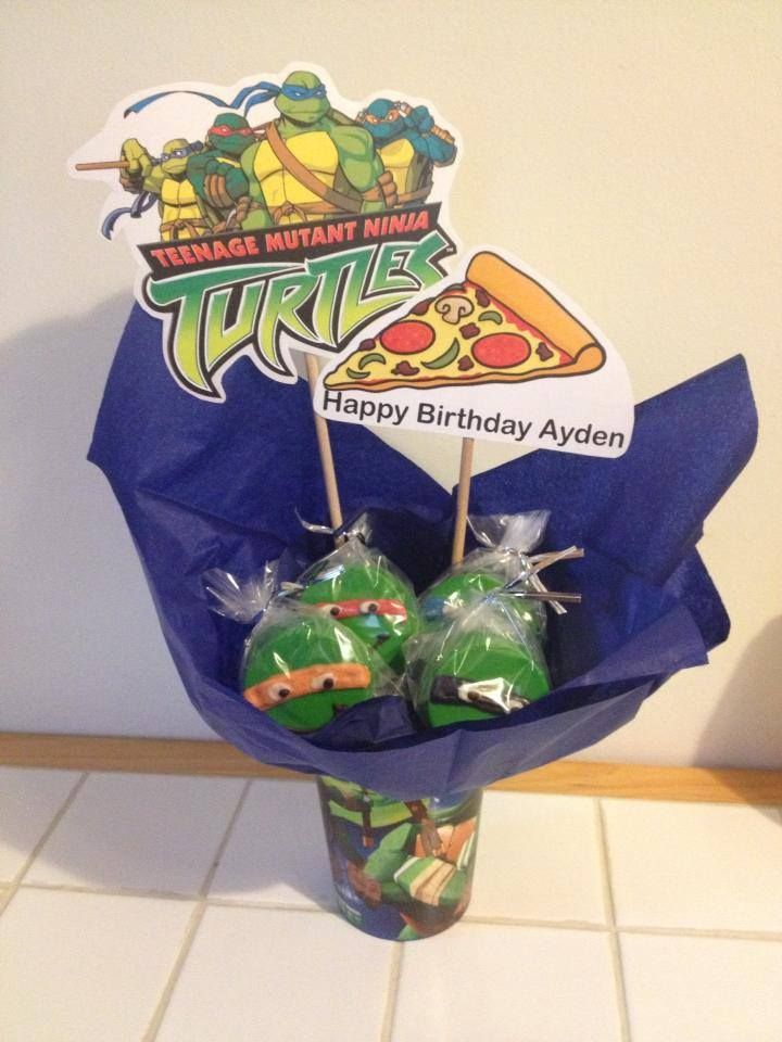 Ninja Turtles centerpieces with Oreos dipped in Chocolate.