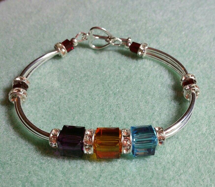 1997b48e689f6 Birthstone bracelet with 4mm & 8mm Swarovski Cubes, 6mm & 8mm ...