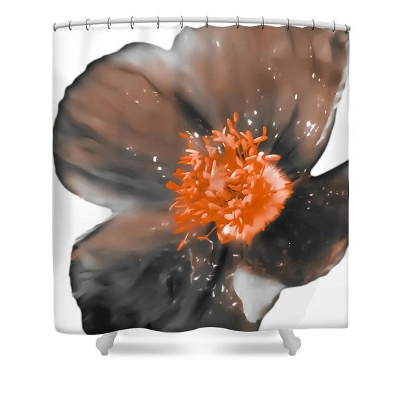 Poppy Shower CurtainUnique Flower WhiteBrown Gray OrangeFloral Bathroom CurtainBathroom DecorA