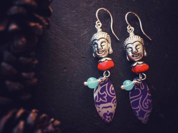 Colorful Buddha Earrings with Vintage Tin by MusingTreeStudios