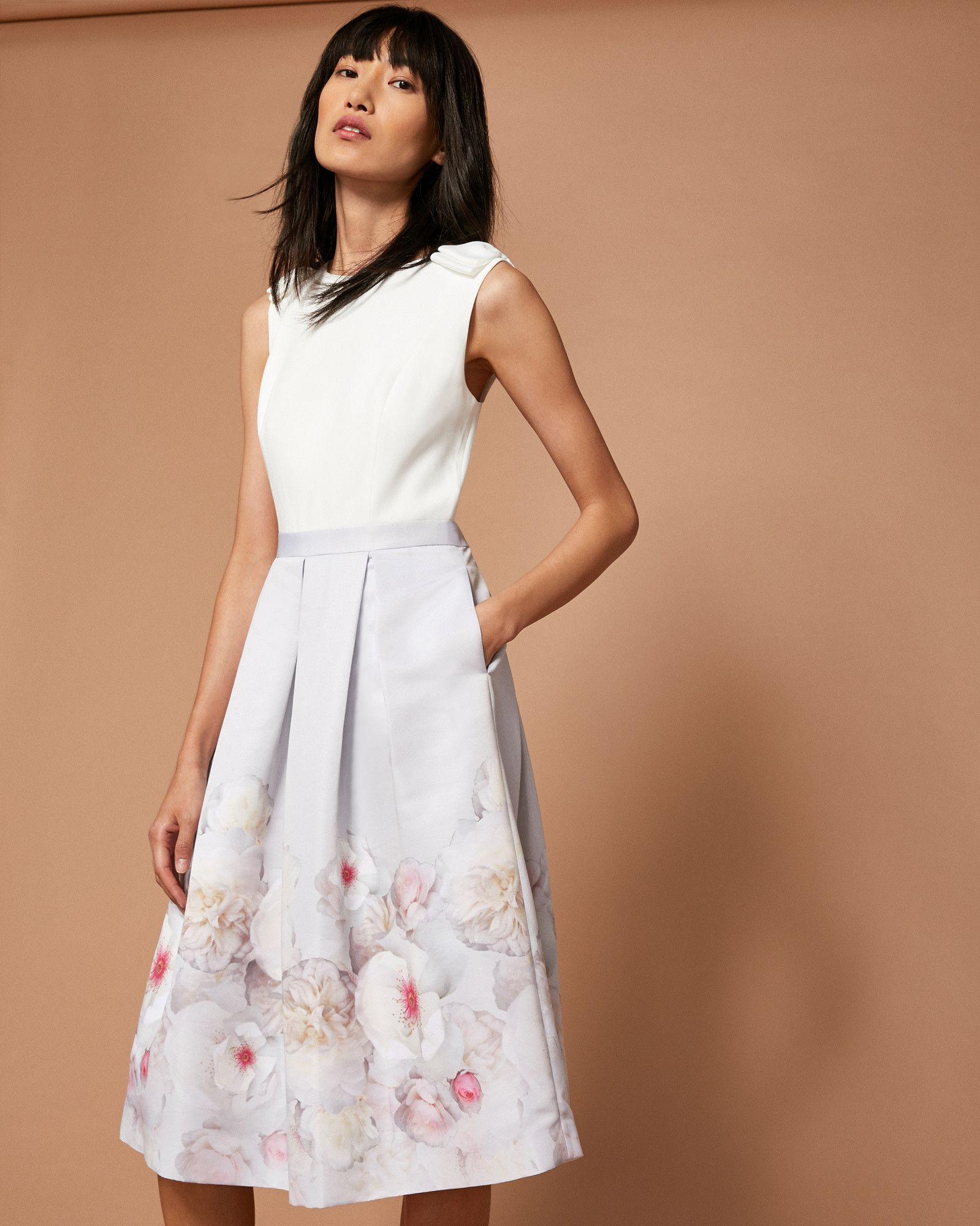 Ted Baker Chelsea Grey Pleated Midi Dress Light Grey Grey Dress Designer Kleider Bekleidung