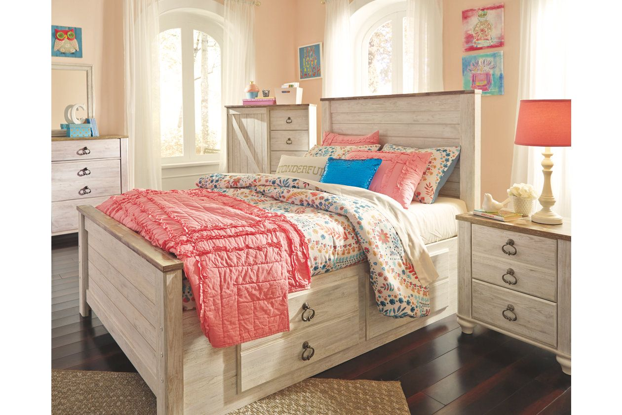 Willowton Twin Panel Bed with 2 Storage Drawers Kids