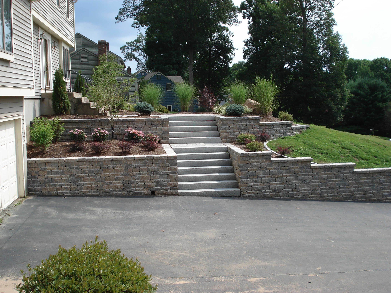 Contemporary with front steps gray brick driveway gray brick driveway - Farmington Ct Interlocking Retaining Walls Including Steps Pavers Landscaping